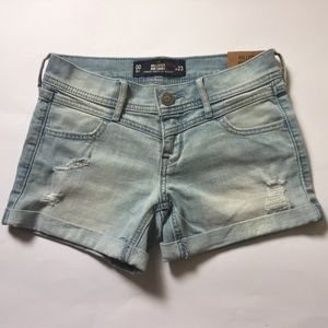 Hollister ripped light wash midi short